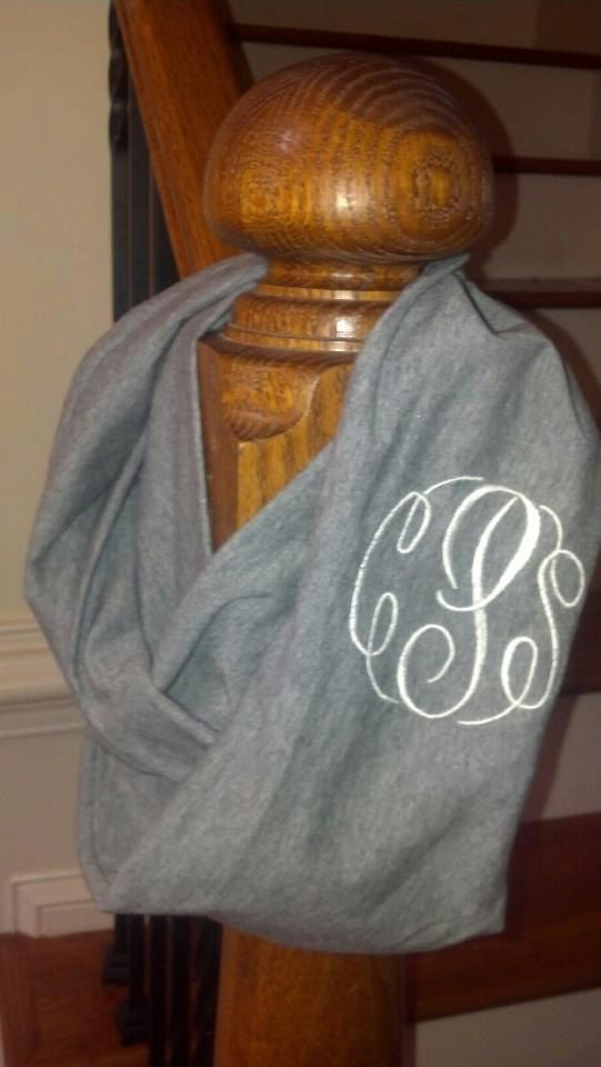 Womens Monogrammed Infinity Scarf by sewpinkembroidery on Etsy, $22.00