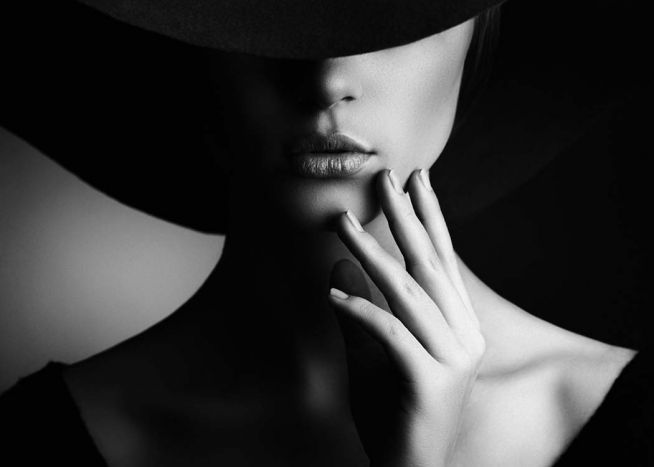 Unique angle of the hat creates a mysterious mood in the model black and white increases contrast tap the link now to get your teeth whitening kit for