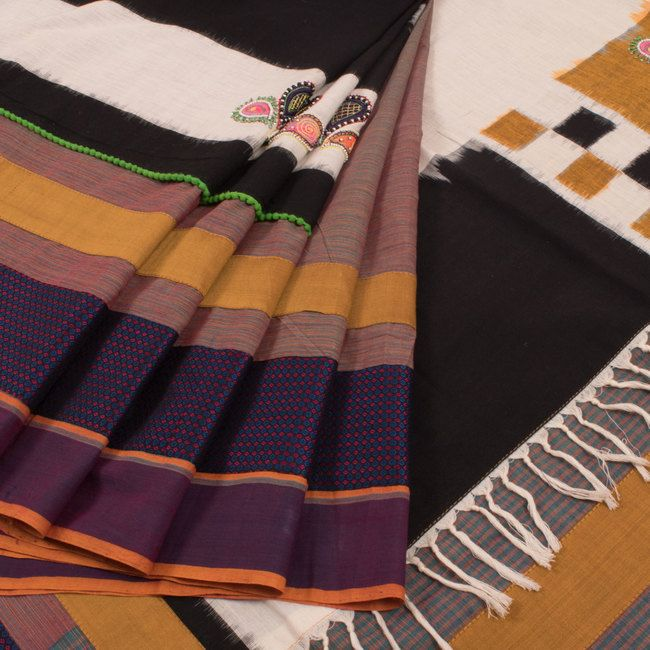 Buy online Hand Crafted Half and Half Kaleidoscope Cotton Saree With Embroidered Sequin Work & Double Ikat Pallu 10014125