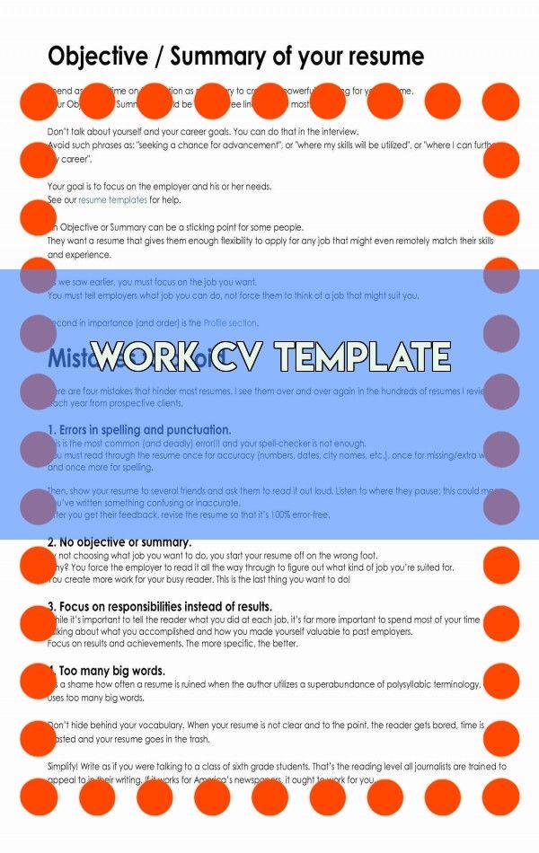 Work Cv Template Resume Template Professional Resume Templates Cv Template