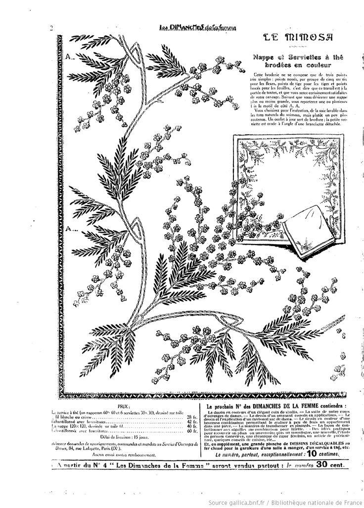 """2 Les Dimanches de la femme : supplément de la """"Mode du jour"""" 1922/03/19 (A1,N2). Mimosa"""