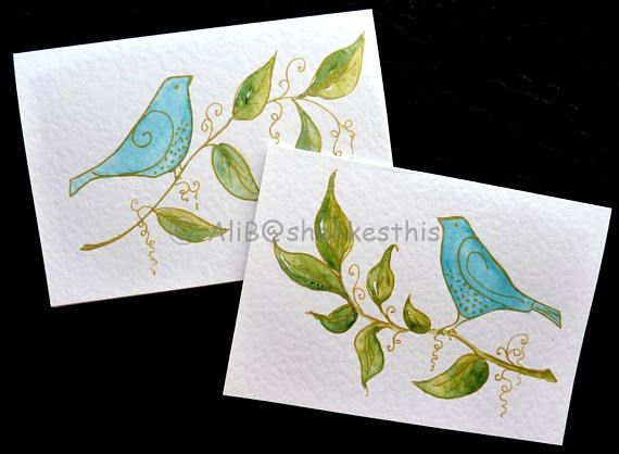 Handmade original watercolour blue birds art cards in