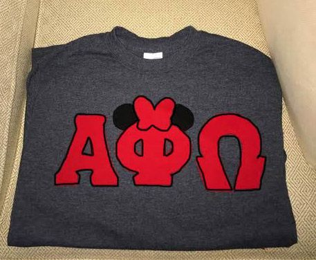 Red Minnie Mouse Alpha Phi Omega letters