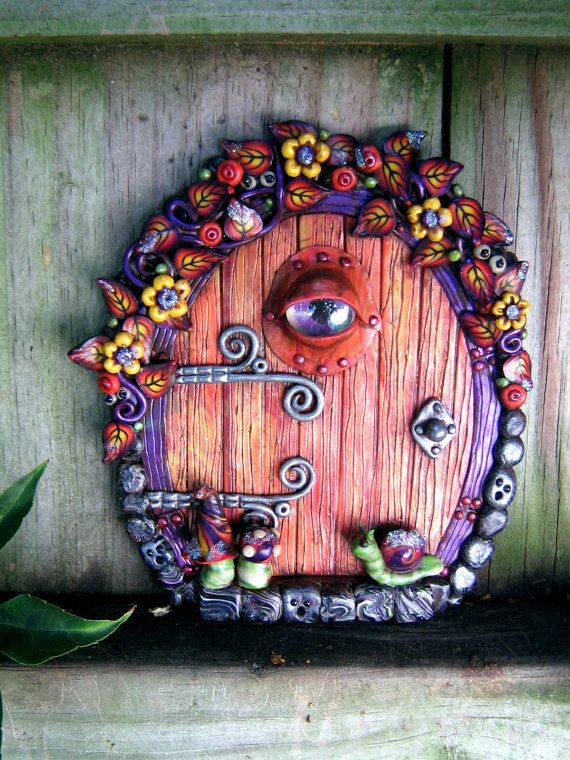 Haunted Halloween Fairy Door Polymer Clay by PinkChihuahuaCrafts