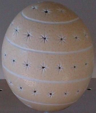 CE2006 Spiral and stars carved ostrich egg