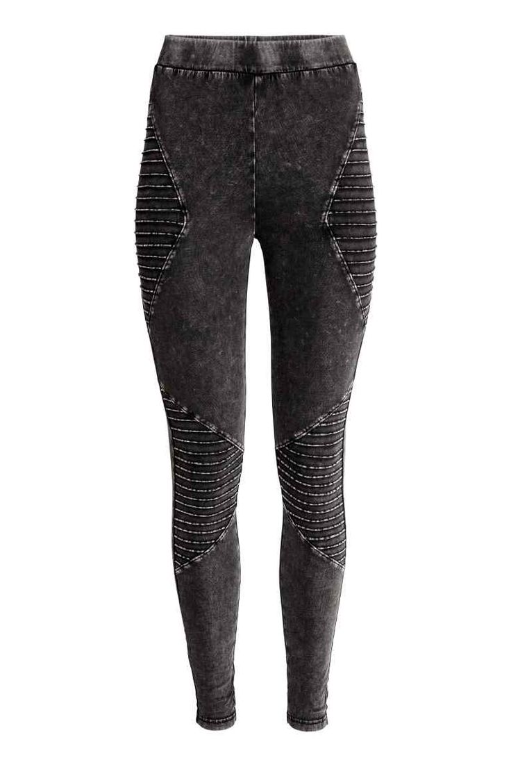 Biker leggings: Leggings in stretch cotton jersey with an elasticated waist and decorative, quilted details.