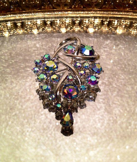 Vintage Coro Aurora Borealis AB Gemstone Brooch Pin in Silver Tone Signed Coro on Etsy, $24.00