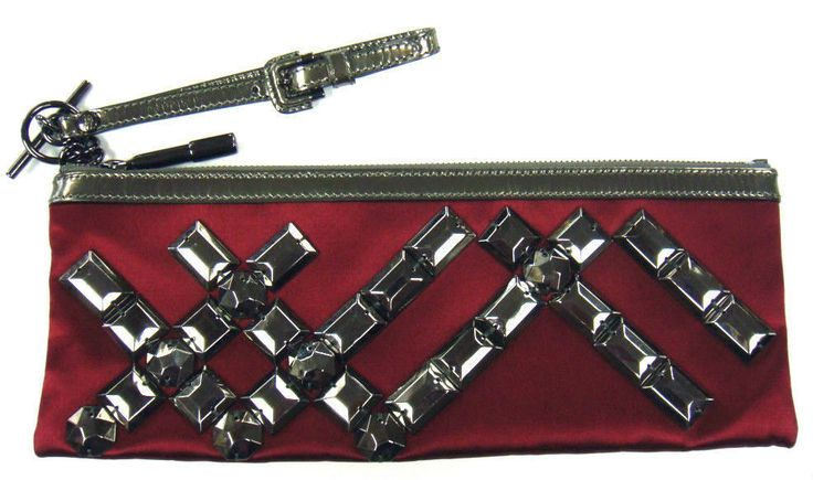 Burberry Limited Edition Burgundy Prorsum Aschome Jewelry Wristlet Clutch #Burberry #Clutch