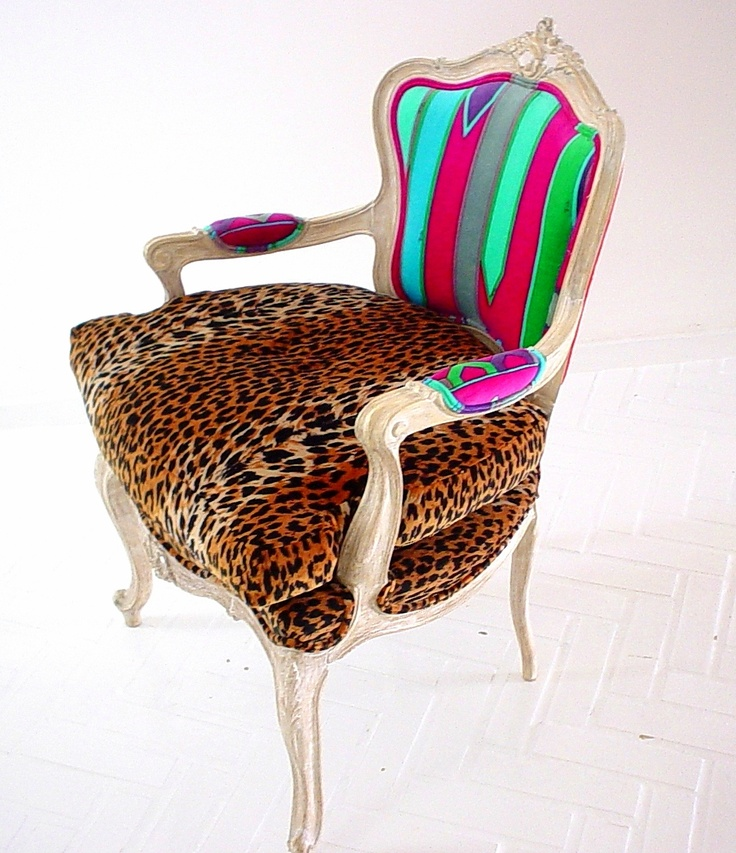 Recycled Louis XV chair with Emilio Pucci vintage velvet skirt-