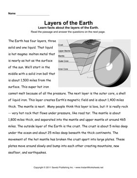 earth layers comprehension fourth grade earth layers reading comprehension worksheets. Black Bedroom Furniture Sets. Home Design Ideas