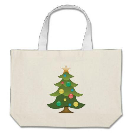 Christmas Tree Emoji Canvas Bags