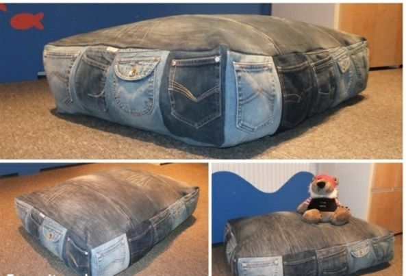 Jeans kissenbezüge klamotten sitzsack