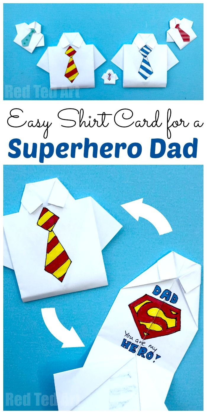 4c4a7b74 Easy Origami Shirt - Father's Day Card - You Are My Superhero Card for Kids.  Love these easy Shirt Cards for Father's Day #origami #fathersday #superhero