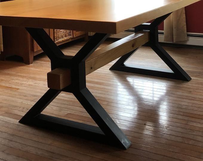 Metal Table Legs X Style Brushed Nickel Finish Etsy In 2020 Metal Table Metal Table Base Metal Table Legs