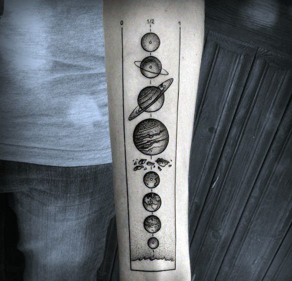 Pricisely Located Solar System Tattoo Forearms Guys