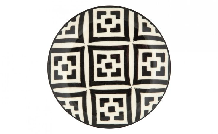 Love the design of this dessert plate.  Inspiring me for our holiday decoupage gift plates!    Moroccan Dessert Plate - Black and white | Jayson Home
