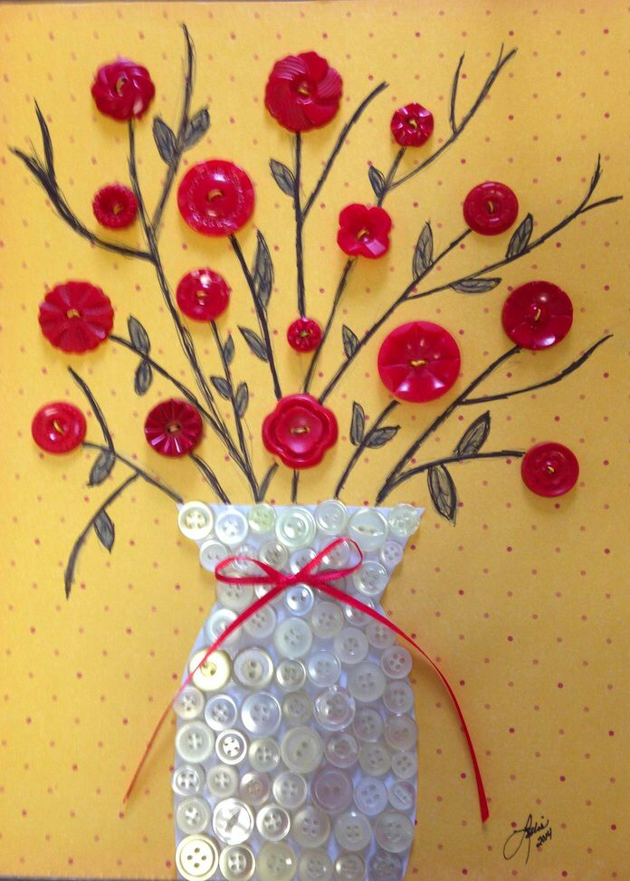 25 best ideas about button art on pinterest button for Decorative flowers for crafts