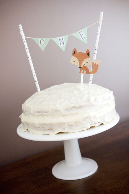 Fox cake at a 1st birthday party!  See more party ideas at CatchMyParty.com!
