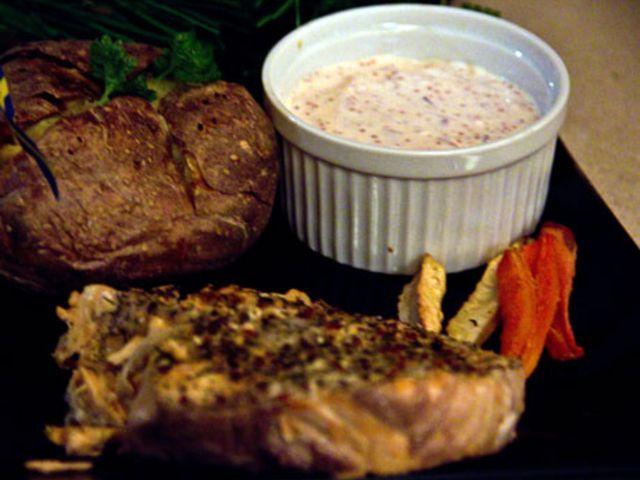Grillad entrecote med potatisbakelse, rostade grönsaker och bearnaisesås (kock Stefan - Hudiksvall)