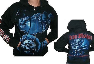Iron Maiden The Final Frontier fleece hoodie has a full zippered closure. The front featuresa jumbo illustration of skulls & Eddie the band mascot in blue.