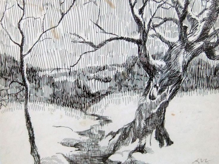 "ANDREW WYETH ""ALONG BRANDYWINE DRAWING 1945 15X12"""
