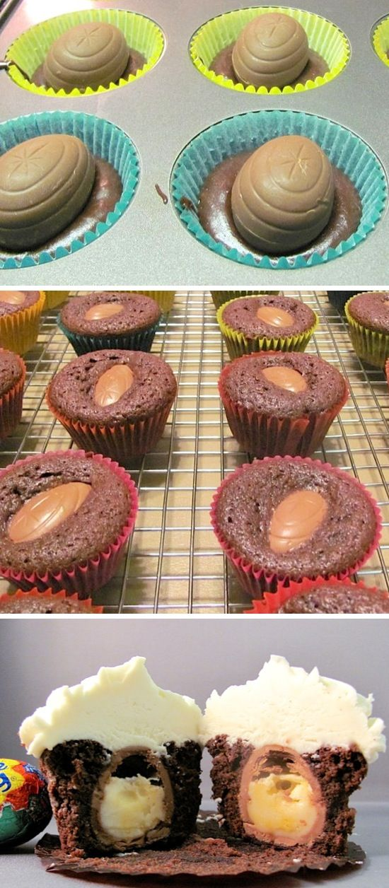 Cadbury Egg Filled Cupcakes | Recipe By Photo    I really want to do a fun brunch thing for Easter this year! Yay He is risen!