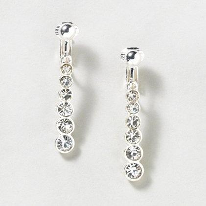 Linear Crystal Drop Clip On Earrings