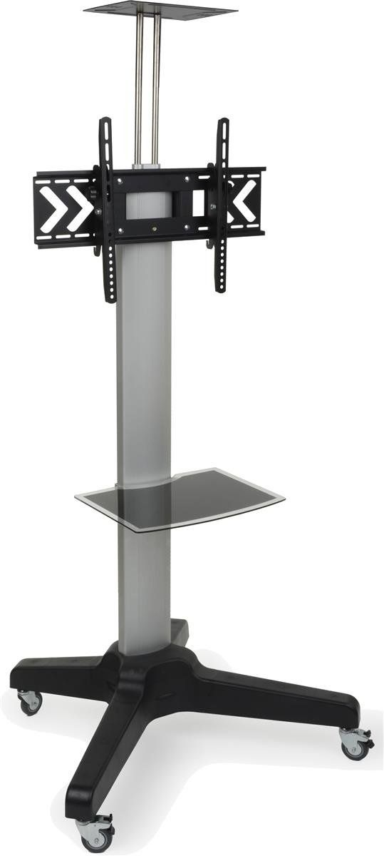 """Flat Panel TV Cart for 32"""" to 65"""", with Camera Stand, Tempered Glass Shelf (Silver/Black Steel). Rolling TV stand supports HDTV displays from 32"""" to 65"""". Holds up to 88 lbs. VESA compatible TV bracket. Heavy duty TV stand has locking wheels. Portable TV cart is height ajdustable."""