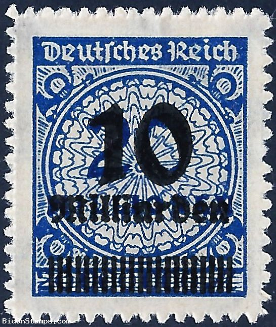 10.000.000.000M on 20.000.000M Digit with Rosette Pattern with black overprint - Weimar Republic 1923 * #Stamps  #Auction #StampAuction #GermanStamp #Inflation #HyperInflation #bidonstamps