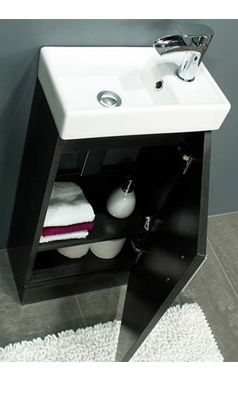 Drench Maisie 400mm Cloakroom Vanity Unit and Basin - Black Ash