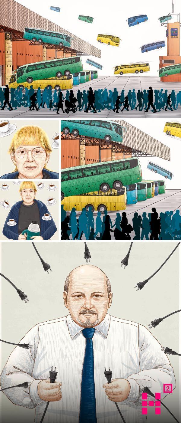 """#Ilustraciones para recrear la historia privada de """"Tres Cruces"""", la central de buses de #Montevideo publicada en la #revista Etiqueta Negra."""