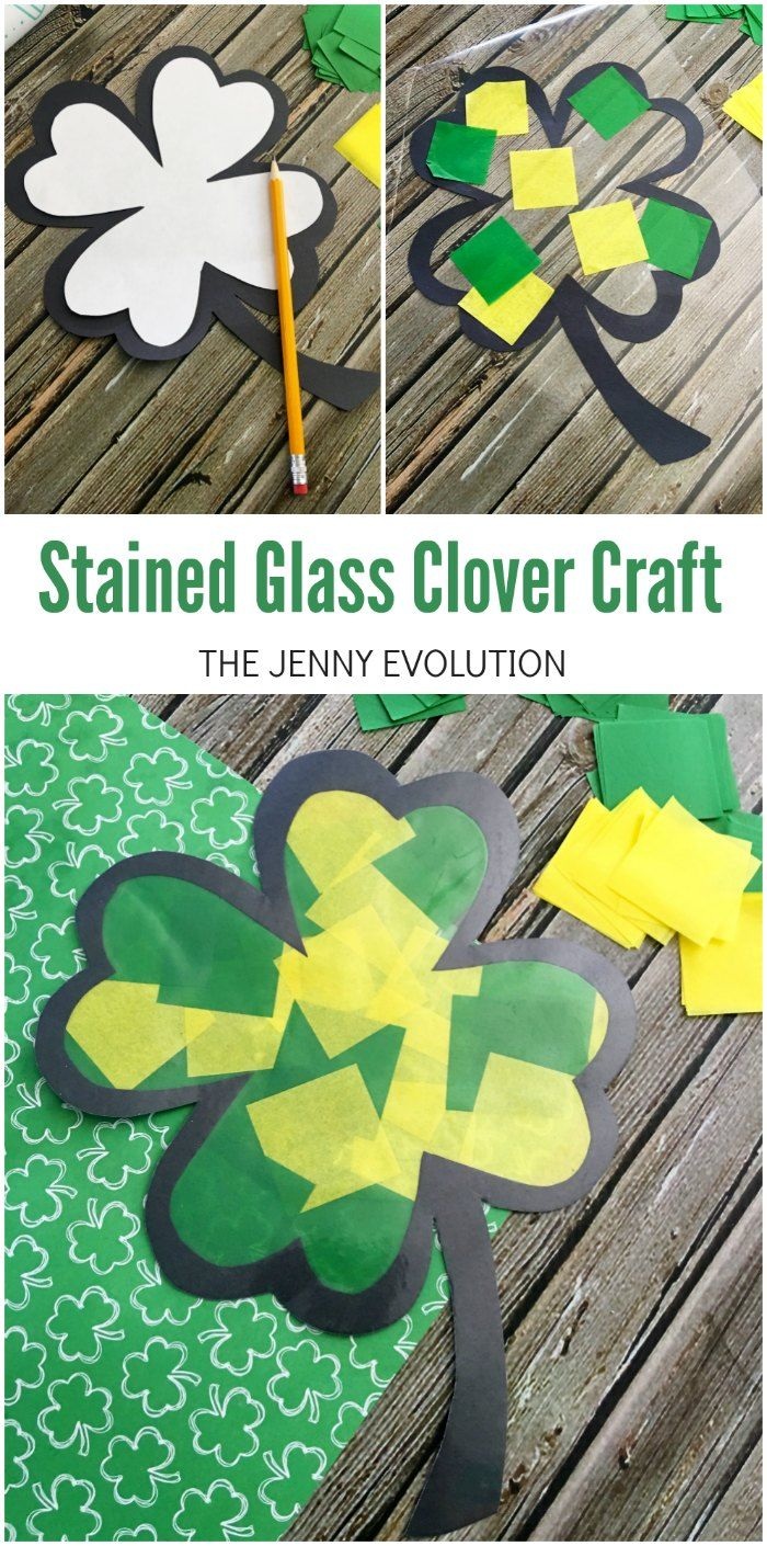 Stained Glass Clover Craft for Kids - Awesome for St. Patrick's Day!