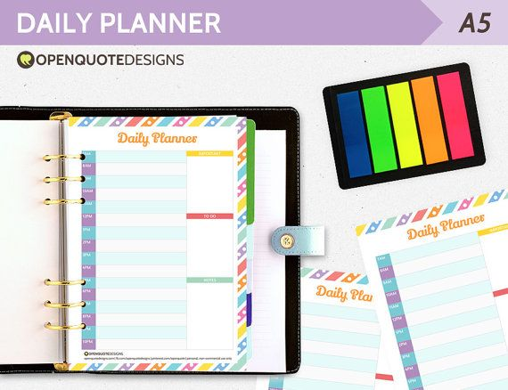 A5 Filofax Printable Daily Planner A5 Planner Daily Agenda