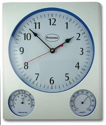 Wall Clock with Matching Dial Thermometer and Humidity Meter - A large wall clock featuring additional temperature and humidity meters. Clear displays makes these instruments ideal for use in a variety of locations including schools, workplaces and the home.