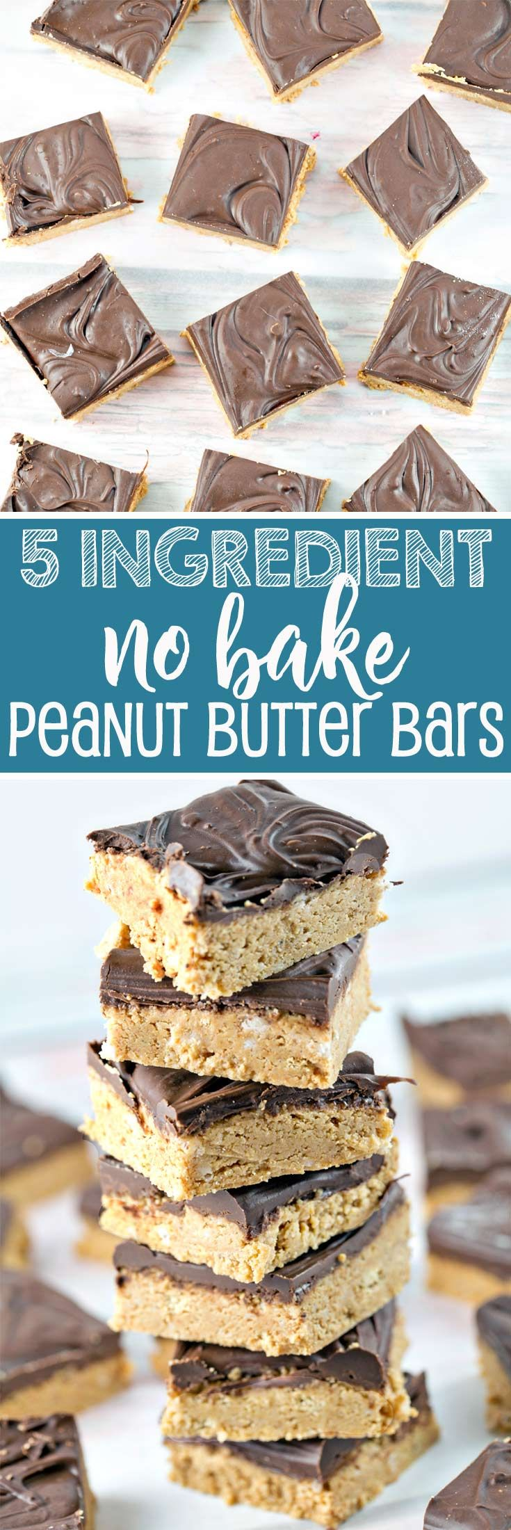 No Bake Peanut Butter Bars: Five ingredients and ten minutes are all you need for this crowd-pleasing favorite! {Bunsen Burner Bakery} via @bnsnbrnrbakery