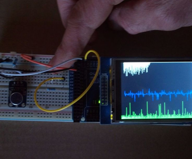 This video demonstration with source code is an example of analog signal graphing. The project uses an Arduino Mega 2560 and UNO R3 2.8 TFT Touch Screen to display two analog signals as line and bar graphs. One signal is a photo resistor and the second is an audio sample from an Adafruit Electret Microphone Amplifier with Adjustable Gain module. The audio signal is graphically displayed twice; once in the center using a line graph and also on the bottom with a bar graph. The top graph…