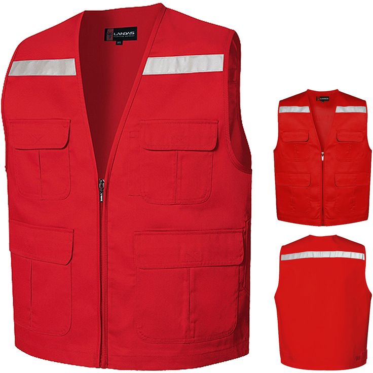 New Multis Pockets Safety Vest Sleeveless Photographer Hunting Hi Vis Vests Red in Clothing, Shoes, Accessories, Men's Clothing, Vests | eBay