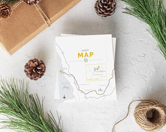 Wedding Invitation Custom Map Card Design. Wedding directions card. Mountain wedding map. Forest wedding map.