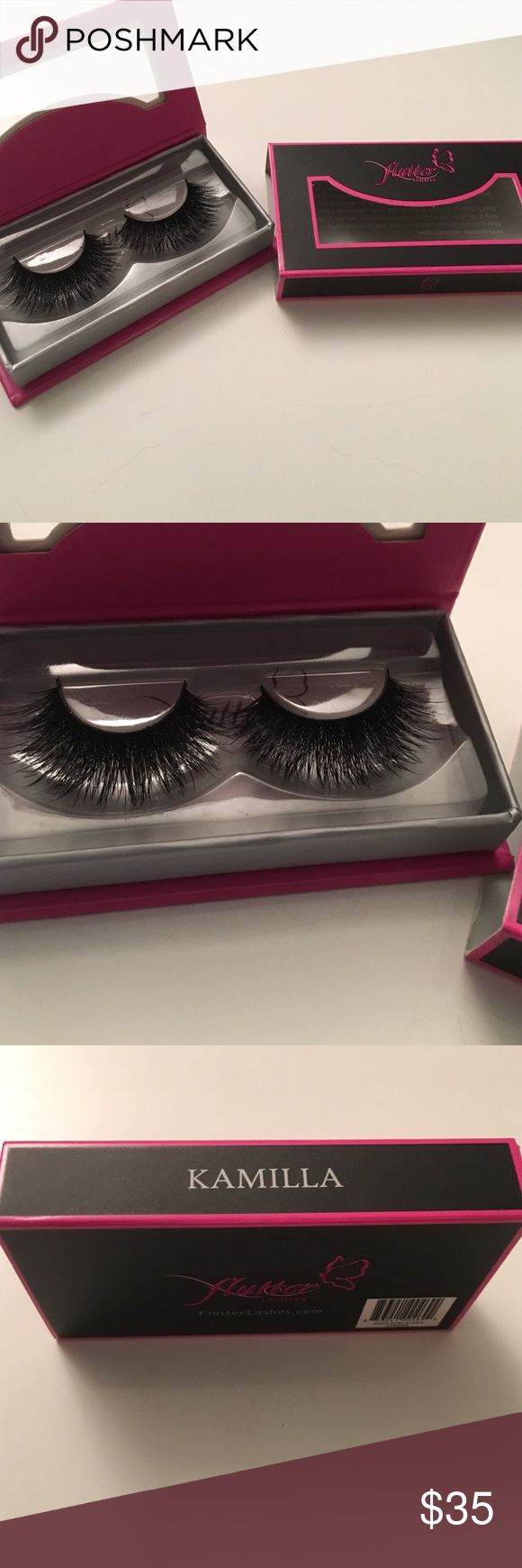 "Flutter Lashes ""Kamilla"" (Mink) Flutter lashes in the style ""Kamilla"" made with genuine mink. Brand new in original box. These are so beautiful and have incredible length and density. Flutter Lashes Makeup False Eyelashes"