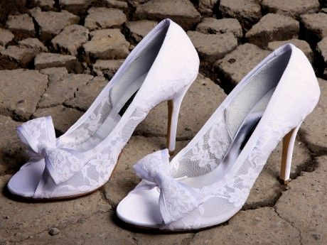 Bridal Lace Peep Toe with a bow from Amarisso New York New Collection 2014