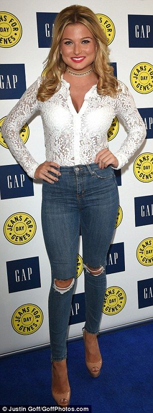 Ripped: Zara Holland showed off her stunning figure in a pair of tight ripped jeans as she arrived at the launch party for Jeans for Genes day on Tuesday at GAP, Knightsbridge
