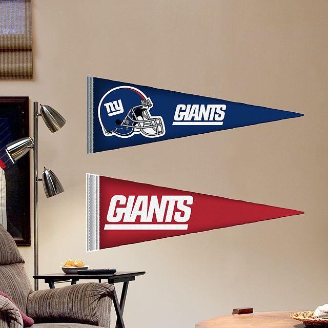 New York Giants Pennants - Fathead Jr. – Peel & Stick Wall Graphic   New York Giants Wall Decal   Sports Home Decor   Football Bedroom/Man Cave/Nursery