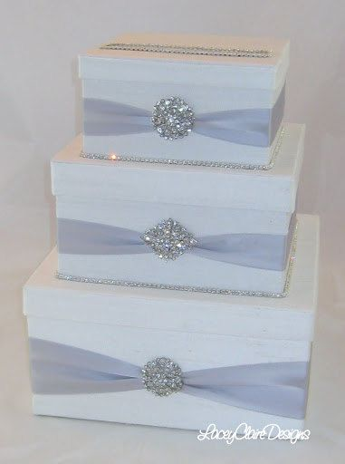 Items similar to Card box / Wedding Box / Wedding money box - 3 tier - Personalized - silver on Etsy