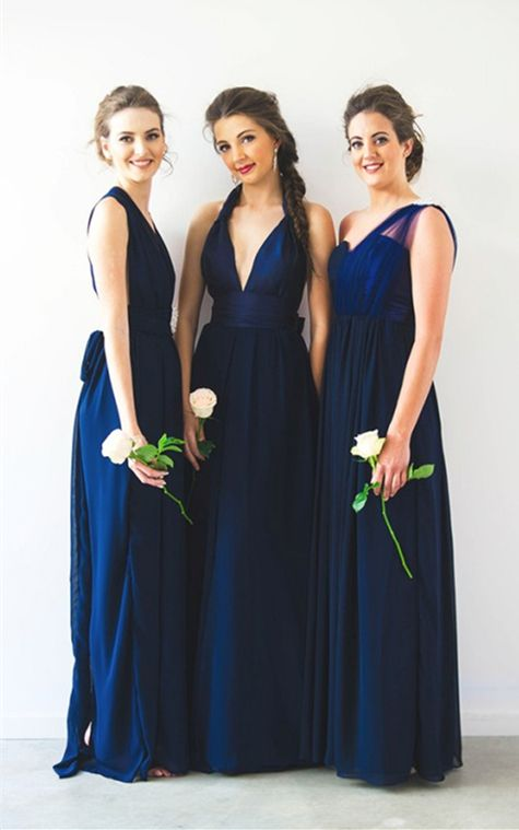 a871b67d34 A-Line One Shoulder Floor-Length Dark Blue Chiffon Bridesmaid Dress ...