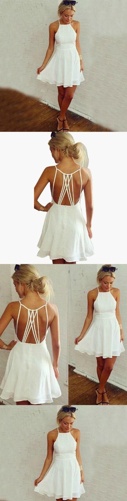 White Homecoming Dress,Short Party Dress,Backless Formal Dress,Short Prom Dress