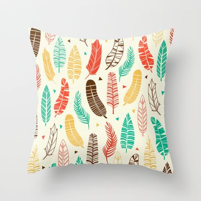 Throw Pillows With Feather Design : Feathers Throw Pillow Butterfly design, Quill and Green leaves