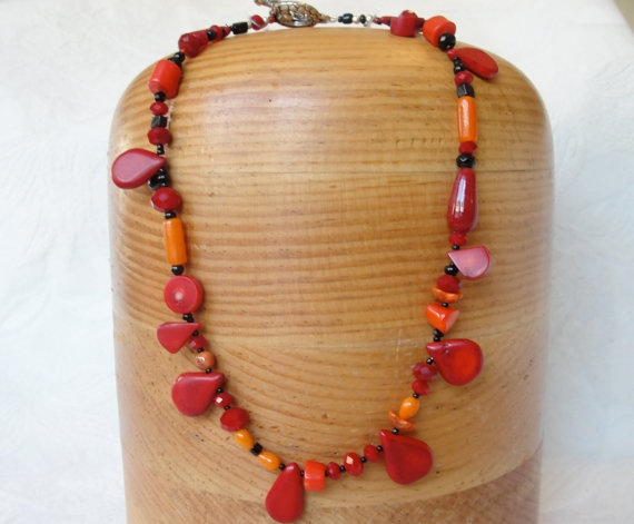 Red Coral Necklace with Onyx and Glass Beads by KartisimDesign, $45.00