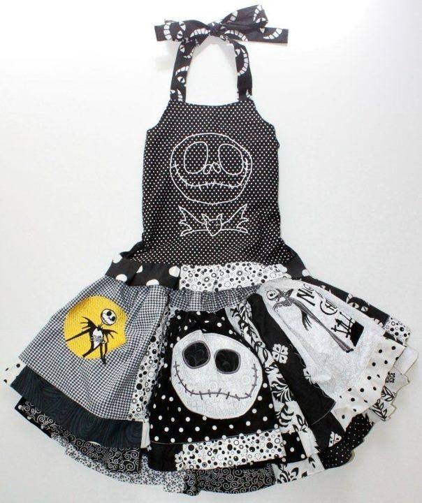 Girls Nightmare Before Christmas JACK SKELLINGTON Twirl Skirt Halloween Outfit 3 | eBay