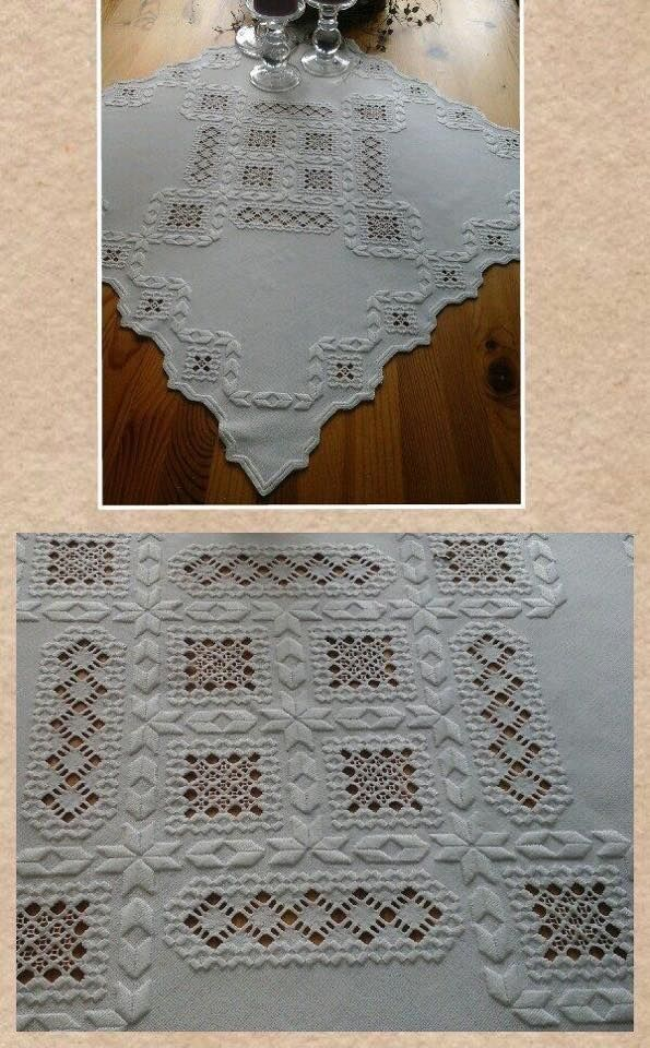Hardanger table topper.