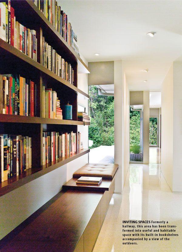 the shelves. the view outside. the banquet. Architect John Bertram. Photos Nazy Alvarez